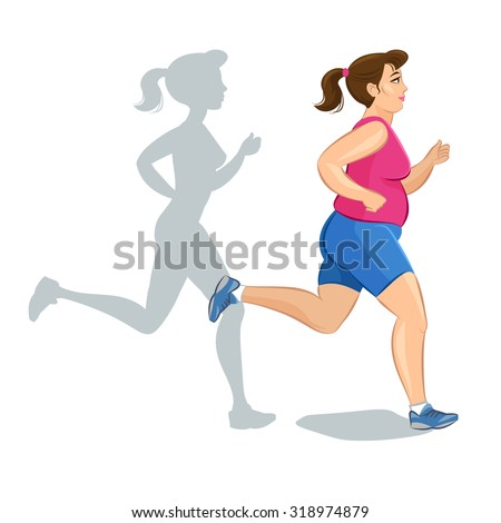 Illustration of a cartoon fat girl jogging, weight loss concept, cardio training, health conscious concept running woman.  - stock vector