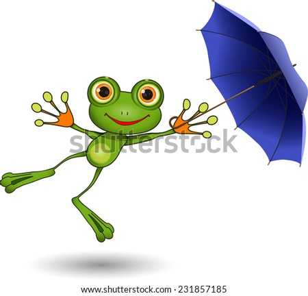 Illustration of a cartoon frog with umbrella - stock vector