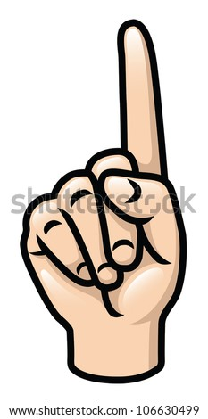 Illustration of a cartoon hand holding up one finger. Eps 10 Vector.