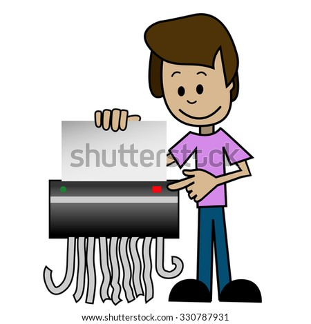Illustration of a cartoon man with shredder - stock vector