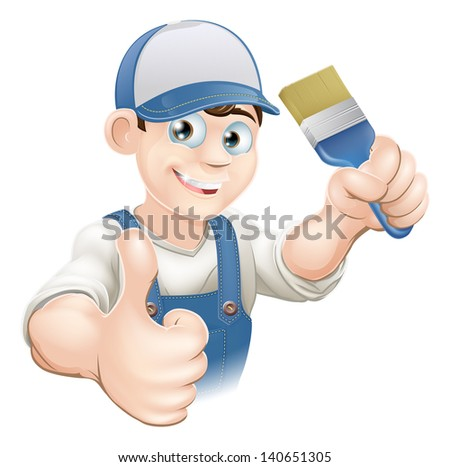 Illustration of a cartoon painter or decorator holding a paintbrush and giving a thumbs up - stock vector