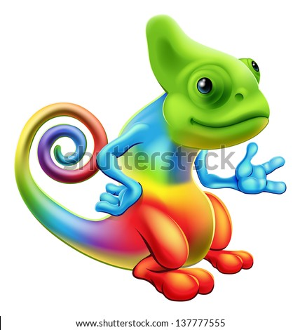 Illustration of a cartoon rainbow chameleon mascot standing with his hand out - stock vector