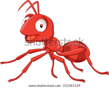 Illustration of a cartoon red ant - stock vector