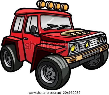Illustration of a cartoon red Sport utility vehicle. Isolated.