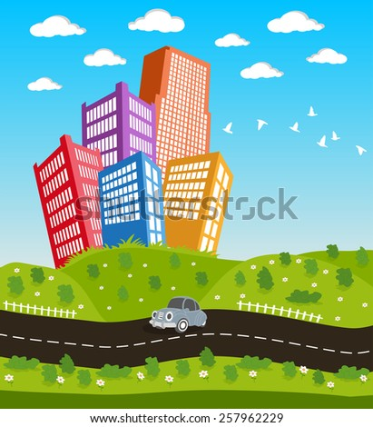 Illustration of a cartoon road driving through cityscape downtown - stock vector
