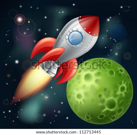 Illustration of a cartoon rocket spaceship with space background and planets and stars - stock vector
