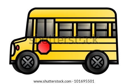 Illustration of a cartoon school bus. Eps 10 Vector.