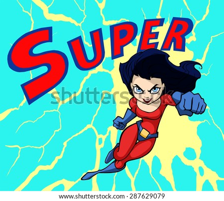 Illustration of a cartoon super lady