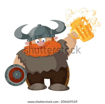 illustration of a cartoon viking with beer - stock vector