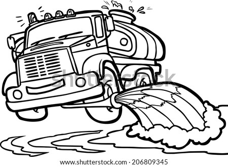 Illustration of a Cartoon Watering truck. Border