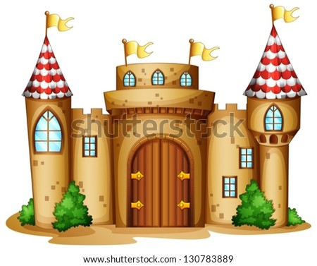 Illustration of a castle with four banners on a white background - stock vector