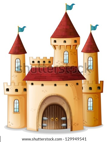 Illustration of a castle with three blue flags on a white background - stock vector