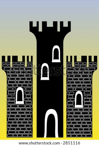 illustration of a castle with three towers - You can change the bricks and colors easily - stock vector