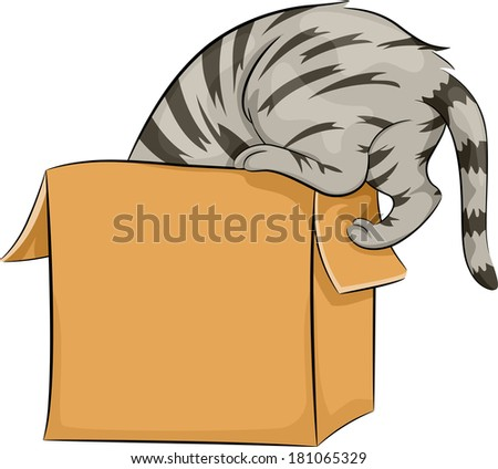 Illustration of a Cat Curiously Peeking Inside a Box - stock vector