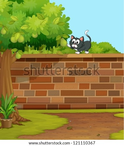 illustration of a cat in a beautiful nature