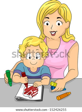 Illustration of a Caucasian Mom Watching Over Her Son Who is Coloring a Page from a Coloring Book - stock vector