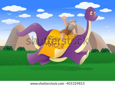 illustration of a cave man wearing leather cloth riding dinosaur on nature background