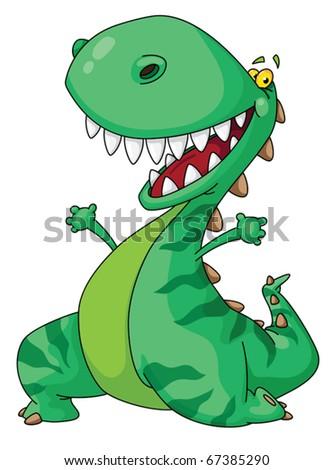 Illustration of a cheerful dinosaur - stock vector