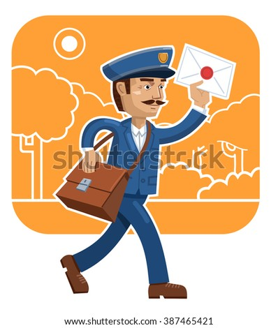 Illustration of a cheerful postman delivering mail - stock vector