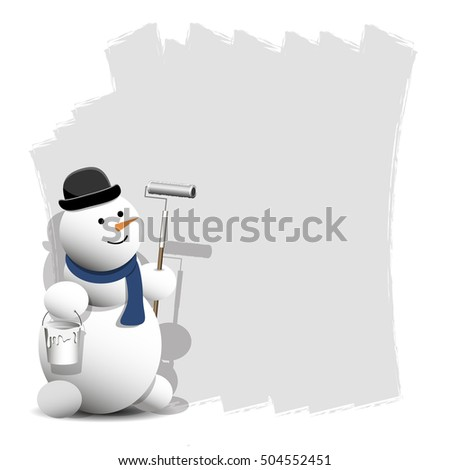 Illustration of a Cheerful Snowman with Paint