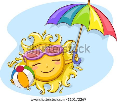 Illustration of a Cheerful Sun Holding a Beach Umbrella and a Beach Ball - stock vector
