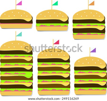 Illustration of a cheese hamburger step from low to high level - stock vector