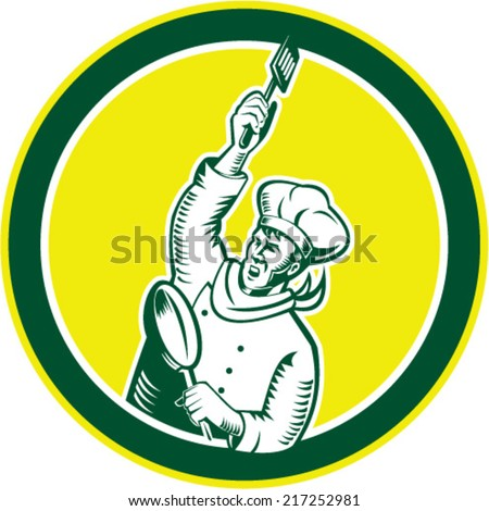 Illustration of a chef cook baker holding spatula and pan revolution style facing side set inside circle on isolated background done in retro woodcut style.  - stock vector