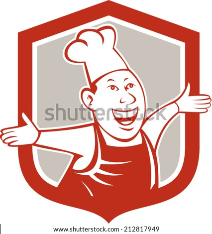 Illustration of a chef cook looking happy smiling with arms out welcoming set inside shield crest on isolated background done in cartoon style.