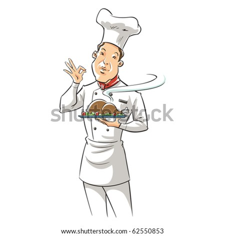 illustration of a chef holding delicious dish - stock vector