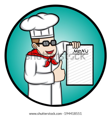 Illustration of a chef showing a menu book