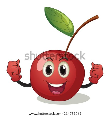 Illustration of a cherry with face - stock vector