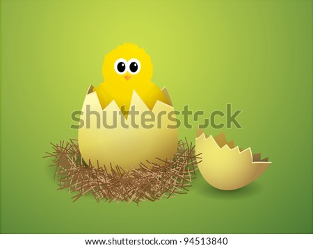 Illustration of a chicken in a nest - stock vector