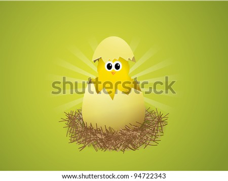 Illustration of a chicken in a nest on green background - stock vector
