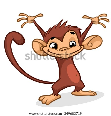 Illustration of a chimp character with hands up. Vector Dancing Monkey
