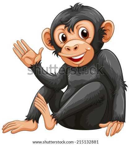 Illustration of a chimpanzee on a white background - stock vector