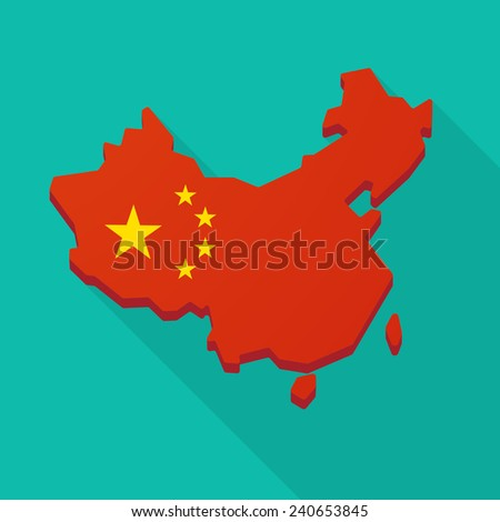 Illustration of a China flag map long shadow icon  - stock vector