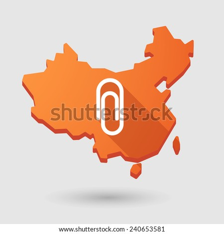 Illustration of a China map icon with a clip
