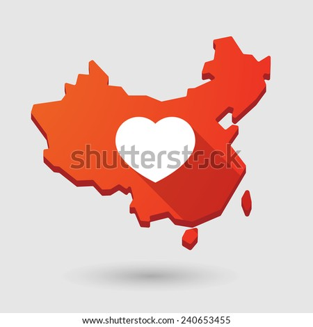 Illustration of a China map icon with a heart - stock vector