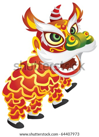 Illustration of a chinese dragon dragon dance performance. - stock vector