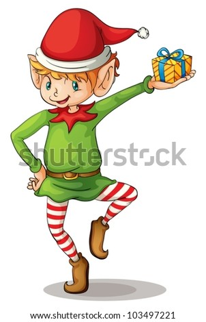 Illustration of a christmas elf - stock vector