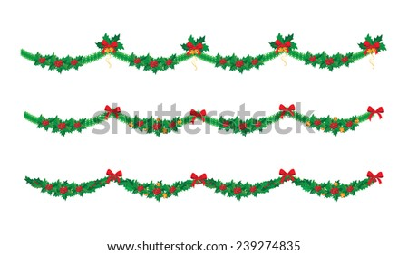 illustration of a Christmas garland set - stock vector