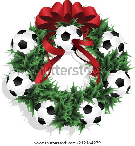 Illustration of a Christmas sports wreath made of holly, red ribbon and footballs or soccer balls. - stock vector
