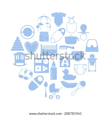Illustration of a circle filled with flat icons of baby's items in blue color on white background. - stock vector