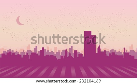 Illustration of a city in night time. - stock vector
