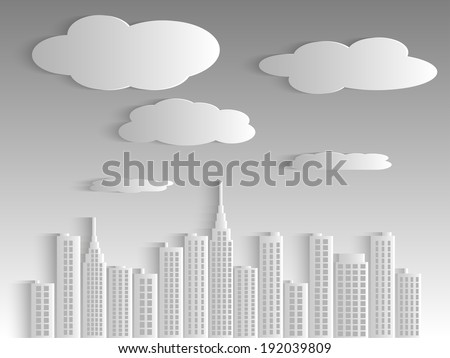 Illustration of a city skyline with clouds and sky. - stock vector