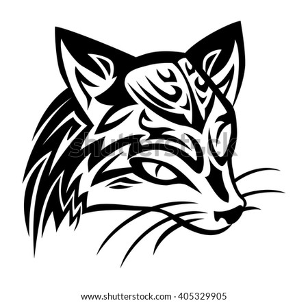 illustration of a civet cat tattoo on isolated white background - stock vector