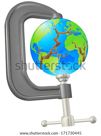 Illustration of a clamp cracking a world globe concept - stock vector