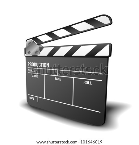 illustration of a clapper board, symbol for film and video - stock vector