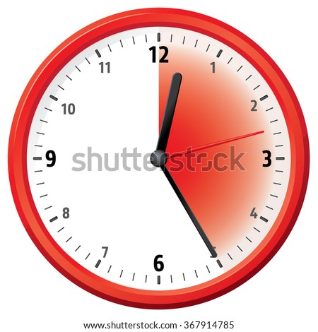 Illustration of a clock marking twenty five minutes. Can be used in ads and institutional - stock vector
