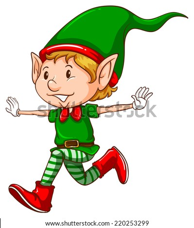Illustration of a close up elf - stock vector